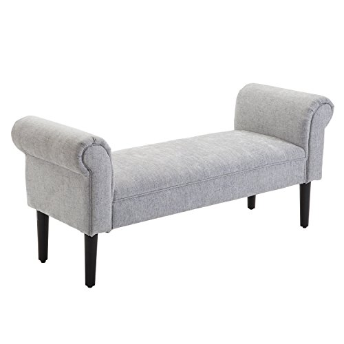 HOMCOM Bed End Side Chaise Lounge Sofa Window Seat Arm Bench Wooden Leg Linen Fabric Cover Grey