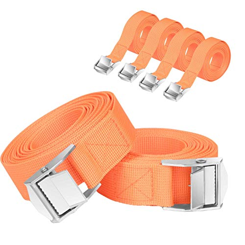URAQT Cam Buckle Straps, 6 Pack 3 Meters Ratchet Straps Heavy Duty Lashing Straps Adjustable Tie Down Straps Tensioning Belts for Motorcycle, Cargo, Trucks, Trailer, Luggage, 250kg Loading Capacity