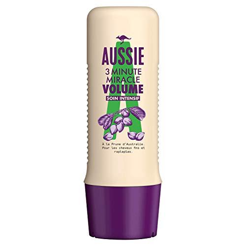 Aussie, 3 Minute Miracle Volume, Soin Intensif, Pour Cheveux Plats, Apporte du Volume et Hydrate vos Cheveux et votre Cuir Chevelu, À La Prune d'Australie, 250 ml