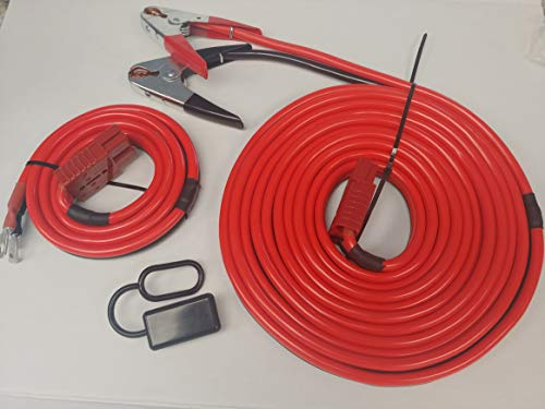 1GA 32FT Permanent Installation kit Jumper Battery Cables with QUICK-CONNECT Plug 32Ft Booster Jump-Start