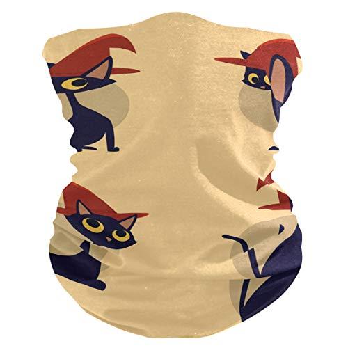 Bandana gezichtsmasker hoofd dragen Mens Balaclava, Fietsen Sjaal Anti Stof Mond Masker Sjaal Gezicht Beschermende Wind Balaclava voor Mannen Vrouwen Ademende Koeling Gezicht Sjaal Cover Kat Rode Heks Hoed