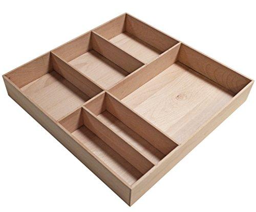 FACKELMANN Org.-Box Stanford/Organisations Box aus stabilem Buchenholz/Maße (B x H x T): ca. 38 x 4,5 x 37 cm/Ordnungssystem für Schubladen mit 6 Fächern/Farbe: Braun hell/Breite: 38 cm
