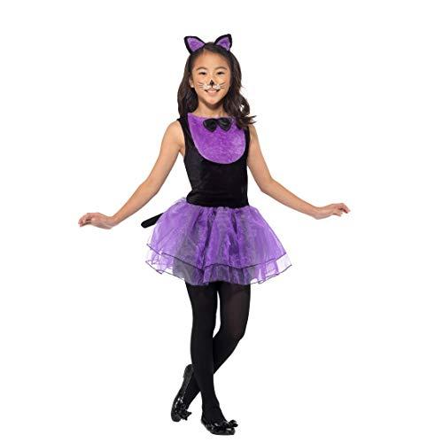Amakando Entzückendes Katzen-Kostüm für Kinder / Schwarz-Violett in Größe M, 7 - 9 Jahre, 130 - 143 cm / Katzen-Kleid für Mädchen Miezekatze / Genau richtig zu Fastnacht & Karneval