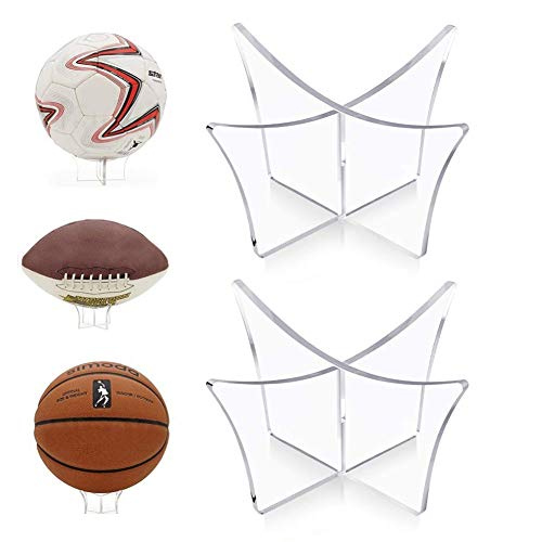 HUYIWEI 2 Stück Fußball-Displayständer Acryl,Ballständer,Displayständer,Ballständer,transparenter Basketballständer,Rugby-Volleyball,Rugby,Volleyball (transparent)