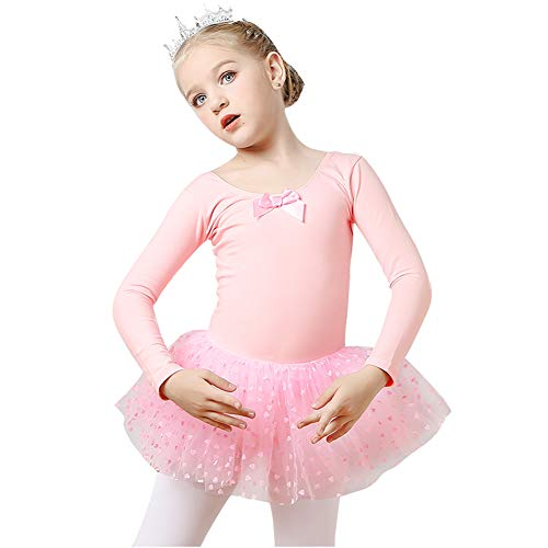 KSITH Meisjes Lange mouwen Dans Kleding Children's Ballet Korte Rokken Kostuums Herfst En Winter Praktijk Kleding Prinses pluizige Rokken, Roze