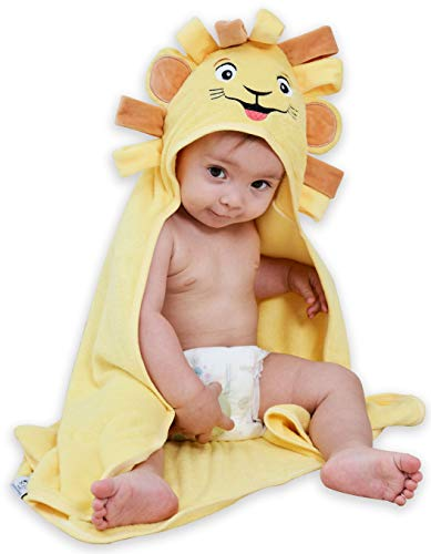 Sunny zzzZZ Organic Bamboo Hooded Baby Towel – Lion Design - Ultra Soft and Super Absorbent Baby Bath Towels for Newborns, Infants and Toddlers – Suitable as Baby Gifts -30x30 INCH
