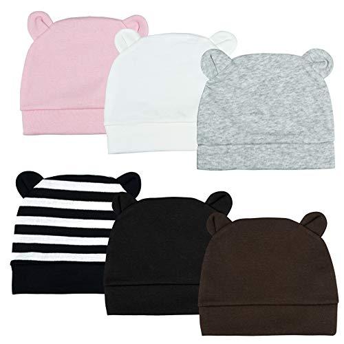 Dxhycc 6 Pack Newborn Hospital Hat Bear Ears Boys Girls Beanie Infant Baby Hats Soft Cotton Caps 0-3 Months
