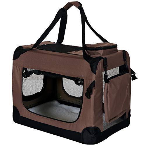 PET VIOLET Transportbox Hundebox Faltbar Katzenbox Hunde Tragetasche 62x42x44 cm, Braun