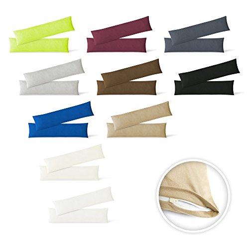 EXKLUSIV HEIMTEXTIL, Federa per cuscino in tessuto termico, confezione doppia con chiusura lampo, 40 x 145 cm, jersey di alta qualità, Cotone, sabbia, 40 x 145 cm