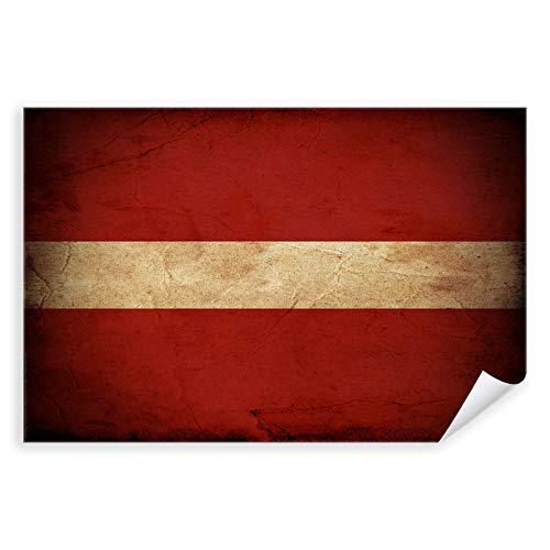 Postereck - 0307 - Vintage Flagge, Fahne Lettland Riga - Unterricht Klassenzimmer Schule Wandposter Fotoposter Bilder Wandbild Wandbilder - Poster mit Rahmen - 29,0 cm x 19,0 cm