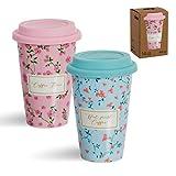 Vidal Regalos Set Taza Porcelana Portatil 400ML x2 con Tapa Silicona 2 Colores Flores Cafe 14 cm