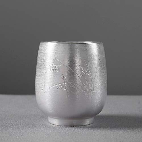 LULIJP Tetera Plateada tibetana 999 Sterling Silver Tea Copa Ciruela Orquídea de bambú crisantemo Juego de té pequeña Taza de té for el Regalo del hogar (Color : Verde, Size : Gratis)