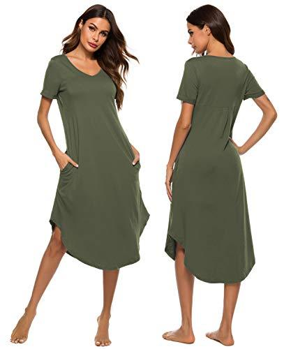 YONIER Camisón Mujer Rayas con Bolsillo Verano Pijama Cuello En V Manga Corta Cómodos Vestidos Ropa de Dormir Suave y Ligero Vestido Pijama Casual