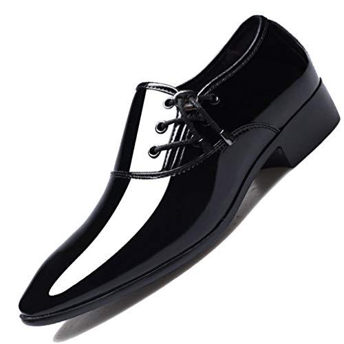 Zapatos de Vestir de Negocios para Hombres Cordones de Cuero de Charol...