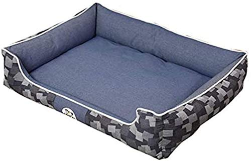 Leifeng Tower Luxury Denim Hundsäng, Premium plysch hundsängar, Mycket mjuk hundsäng Avtagbar klädsel för djur soffa, helt tvättbar, blå, S