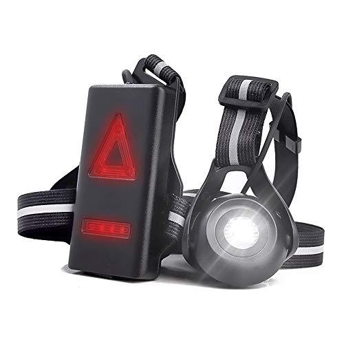 Welltop Lámpara de luces de correr, linterna de pecho recargable 90° ángulo de haz ajustable impermeable al aire libre LED linterna de noche, 2 modos para corredores nocturnos, corredores
