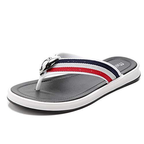 bjyxszd Sandalias de Dedo Cómodas para Hombres Chanclas,Zapatillas Deportivas y al Aire Libre Clip de Verano Pies Sandalias Non Slip Beach Pool Sliders Flip Flaops Zapatos Casuales-Blanco_43