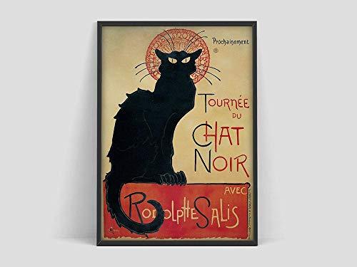 Póster de Le Chat Noir, impresión de gato negro, arte de Monmatre Paris, póster de exposición de arte, lienzo decorativo sin marco F 30x45cm