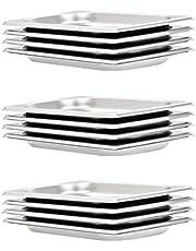 vidaXL 12x Bandejas Gastronorm de Alimentos GN 1/4 Utensilios Cocina Calientaplatos Plato Platillo Comida Buffet Baño María 20 mm Acero Inoxidable