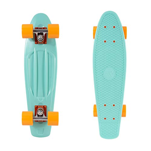 Retrospec Quip Skateboard 22.5' Classic Retro Plastic Cruiser Complete Skateboard with Abec 7 bearings and PU wheels, Seafoam & Tangerine (3163)