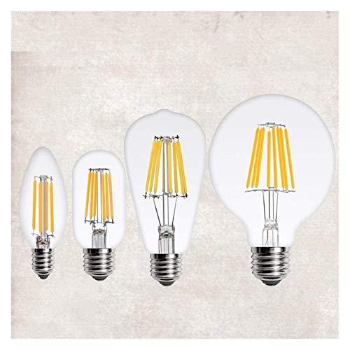 Lámpara Retra LED Filamento de la luz Filamento Edison E14 E27 220V C35 G45-G95 ST60 A60 T45 2W 4W 6W 8W Chandelier Bulb Luz de decoración de la decoración