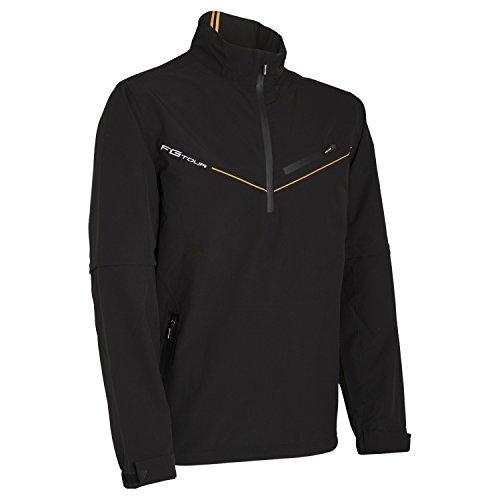Wilson Regenjacke mit halbem Reißverschluss und abnehmbaren Ärmeln für Golfer, FG Tour Detachable Sleeve Rain Top, Polyester, schwarz, Gr. L, WGA700335