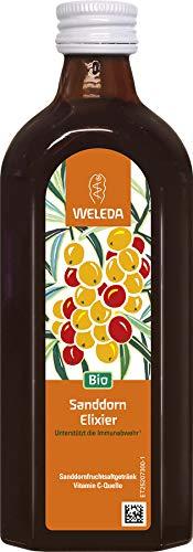 WELEDA Bio Sanddorn-Elixier, Vitamin C Quelle zur Stärkung des Immunsystems, Sanddornsaft angenehm gesüßt mit Bio-Rohrzucker & Honig (1 x 250 ml)