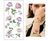 Etiqueta engomada del tatuaje falso temporal patrón flores mujeres hombres arte corporal transferencia agua parte posterior hombro accesorios moda calcomanía regalo del festival 19X9Cmx4Pc
