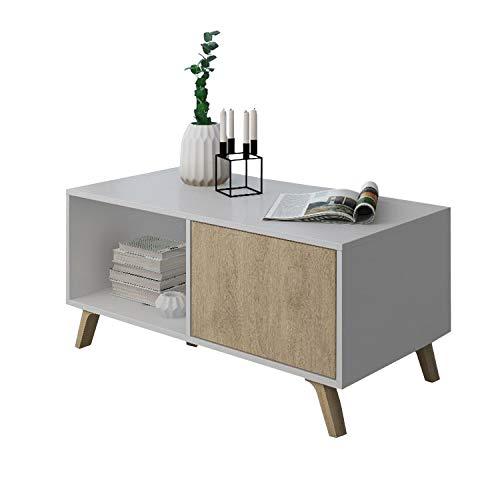 COMFORT Home Innovation - Couchtisch mit Türen, Esszimmer, Modell Wind, Strukturfarbe Weiß, Türfarbe Puccini, Maße 92x50x45cm hoch.