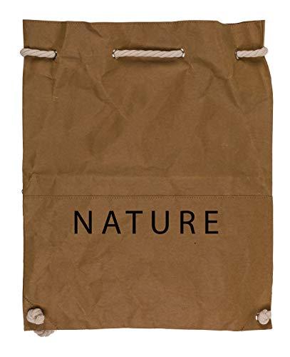 Out of the Blue 230135 - Rucksack Nature, mit Kordelgriff, ca. 40 x 48 cm, aus einem waschbaren Papiergemisch aus Zellulose und Latex, braun
