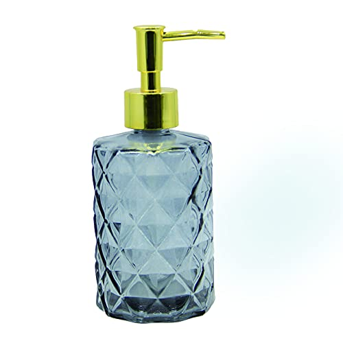 RonFin Dispensador de jabón líquido de cristal, 330 ml, con bomba de plástico, para cuarto de baño, encimera de cocina, adecuado para jabones líquidos, aceite esencial (gris diamante)