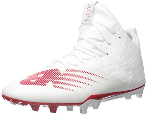New Balance Men's Burn X2 Mid-Cut Lacrosse Shoe, WHITE/RED, 10 D US