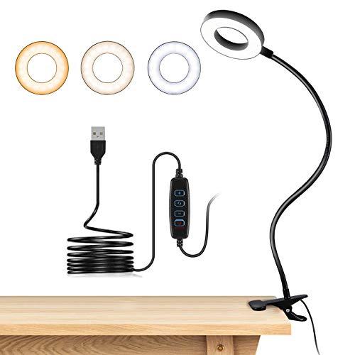 Lampada a clip con 48 LED USB da scrivania con 3 modalità di colore, 10 luminosità, clip per la protezione degli occhi, a collo di cigno flessibile a 360°, può essere portata con sé per libri e lavoro