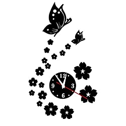 Garneck Wall Clock,Removable DIY Acrylic Mirror Clock, 3D Butterfly Sticker Clock,Wall Sticker Decoration for Bedroom Living Room (Black)