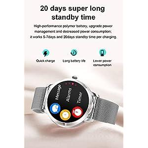 Smartwatch Mujer, Reloj Inteligente IP68 con Pulsómetro, Monitor de Sueño, 9 Modos de Deportes, Seguimiento del Menstrual, Notificaciones Inteligentes, Reloj Mujer para Android iOS (Plata)