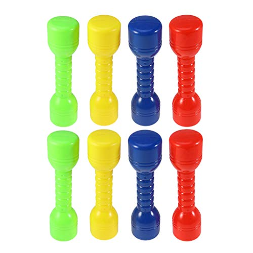 VOSAREA 4/8 Pezzi Manubri per Bambini Manubri in Plastica per Bambini Esercizio Fitness Sport Giocattolo Manubrio per Palestra di Casa Scuola Materna(Colore Casuale)