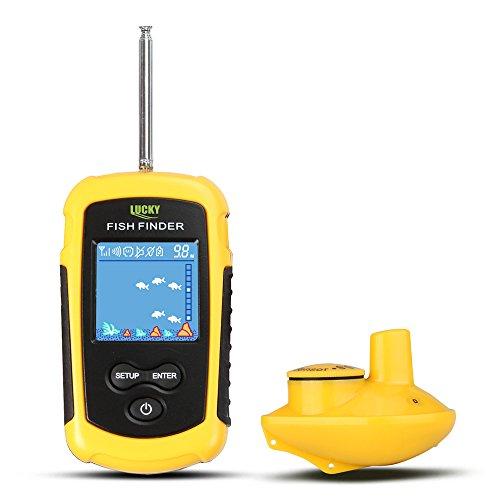 MKNzone 1 pc FFW1108-1 Buscador de Peces portátil inalámbrico, Sonar para Pesca, 40m Rastreador de Peces con Sensor