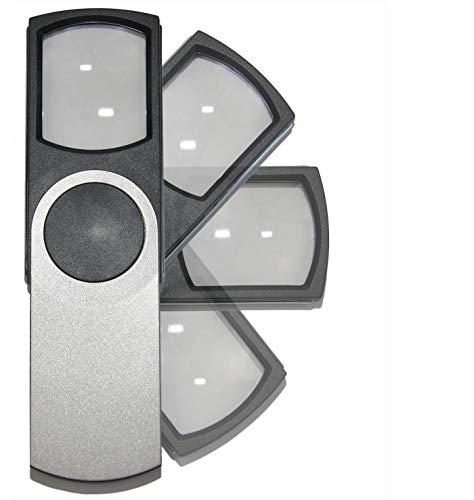 Lupa Con Luz LED De Lectura 3x Para Movil Titanium Silver; Lupas Estetica De Mano De Gran Aumento Leer Libros, Lentes Profesional Potente Plastico Acrílica Cuadrada Protegida; Regalo Como Ayuda Visual