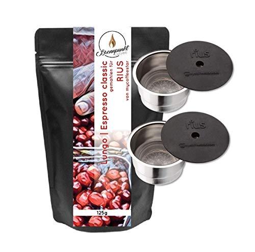 mycoffeestar RIUS Doppelpack: 2 wiederbefüllbare Kaffeekapsel für TCHIBO CAFISSIMO® und CAFFITALY® Maschinen mit 125g Premiumkaffee