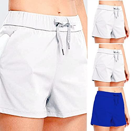 Briskorry Shorts Sport Damen Solid Color Kordelzug Kurze Hosen Baggy Freizeithose mit Taschen Workout Sommer Lounge Drawstring Shorts für Frauen