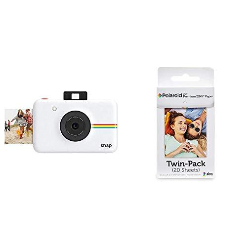Polaroid Snap - Cámara Digital instantánea, tecnología de impresión Zink Zero Ink, 10 MP + Premium Zink Papel Fotografico (Paquete de 20 Hojas) Compatible con Polaroid Snap, Snap Touch, Mint, Z2300