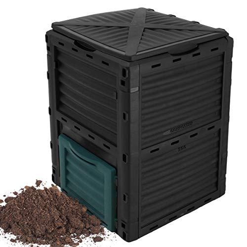 ECD Germany Komposter mit Deckel und Klappe 300L 61x61x82cm Schwarz Dunkelgrün Bessere Luftzirkulation Effizienter Komposter Wetterfest Thermokomposter Gartenkomposter Schnellkomposter Kompostbehälter