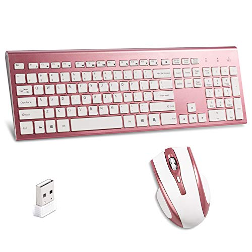 Wireless Keyboard and Mouse Combo,2.4G Wireless Combo,Full Size Slim Thin Wireless Keyboard with Palm Rest and Comfortable Mouse (Rose Gold)