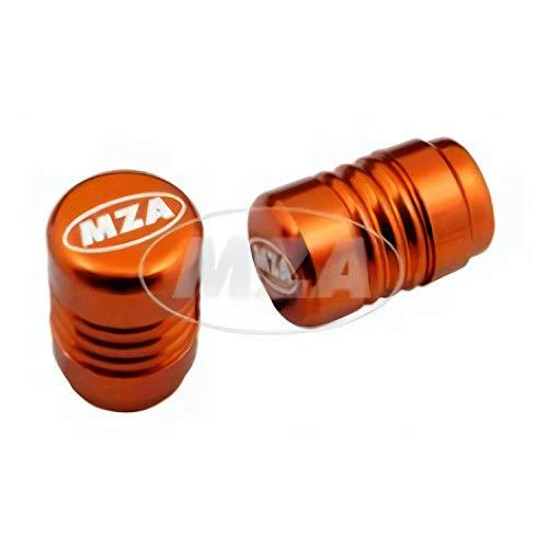 Set Ventilkappe (2 Stück) Alu orange eloxiert - MZA-Design-Kappe, incl. O-Ringe/Dichtungen