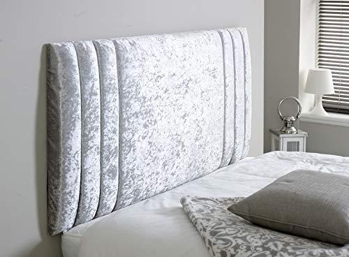 Elixir Furniture Divan Bed Rio - Cabecero de cama de terciopelo aplastado elegante y brillante para decoración de dormitorio, Plateado, Super King 6 FEET, Height 36 INCHES