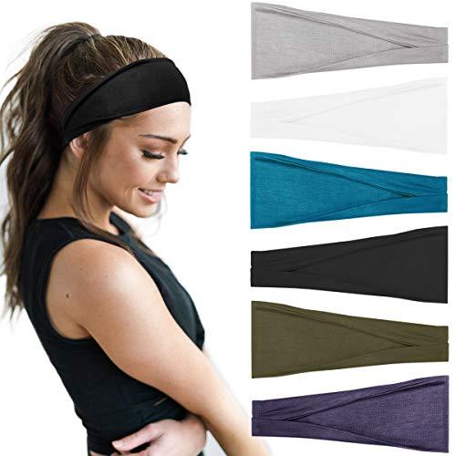 Huachi Women's Headbands Yoga Workout Exercise Headband for Men Sweat Wicking Hair Bands (Set 004)