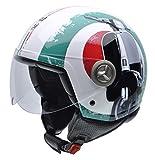 NZI 490004G341 Zeta Graphics Super Cinquantotto, Casco da Moto, Bandiera Italiana e Dettaglio di Moto, Rosso/Bianco/Verde, Taglia M