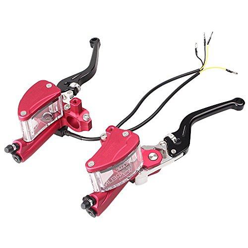 Manettes de frein universelles Gzyf gauche et droit 22 mm, cylindre d'embrayage, leviers, réservoir de liquide, rouge