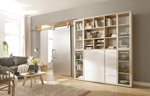 moebel-dich-auf Büromöbel Arbeitszimmer Highboard Kombination Schrank Set Plus Maja Set+ in Eiche Natur/Weißglas