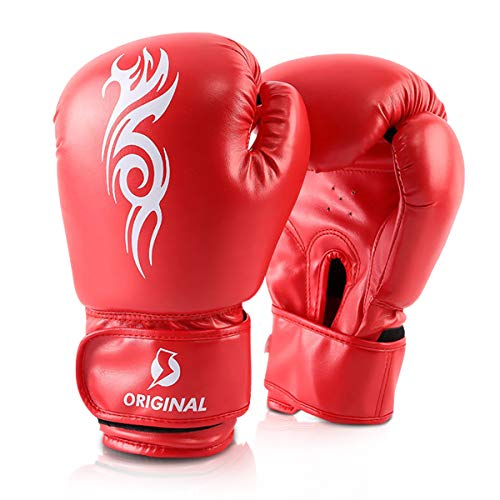OLYSPM Boxhandschuhe Muay Thai Training Kickboxen Sparring Training-8oz 10oz 12oz 14oz|Boxen mit optimaler Schlagdämpfung Boxhandschuhe Herren(Rot)